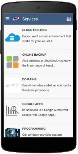 The services screen of our app