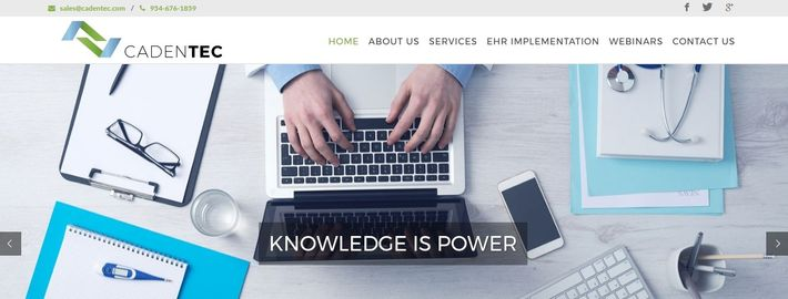 CadenTEC.com website homepage - a company dedicated to bridging the gap between healthcare and IT