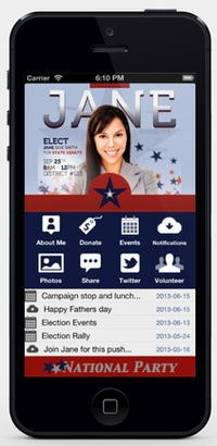 Homepage of Tinycandidate, a dedicated app for political campaigns