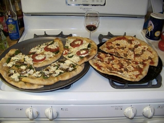 'Two pizzas sitting on top of a stove top oven' - one   of the images this AI managed to caption successfully