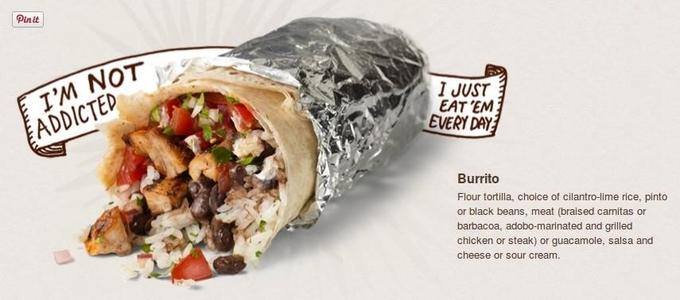 Chipotle burrito presentation