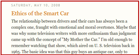 Ethics of the smart car:  the screenshot of the title and a couple of sentences