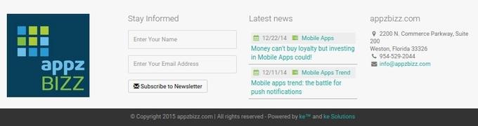 Footer design on Appzbizz.com