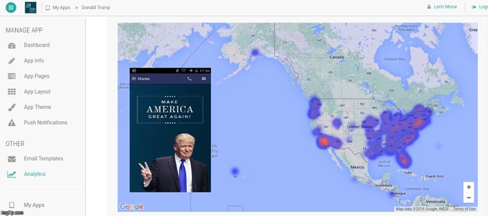 AppzBizz platform launches a new app analytics feature:   heatmaps; screencapture from AppzBizz analytics page for Donald J. Trump app