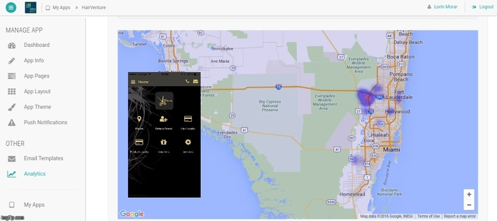 Screen capture from AppzBizz analytics page for the   Hairventure app showing app install density in the larger Miami area