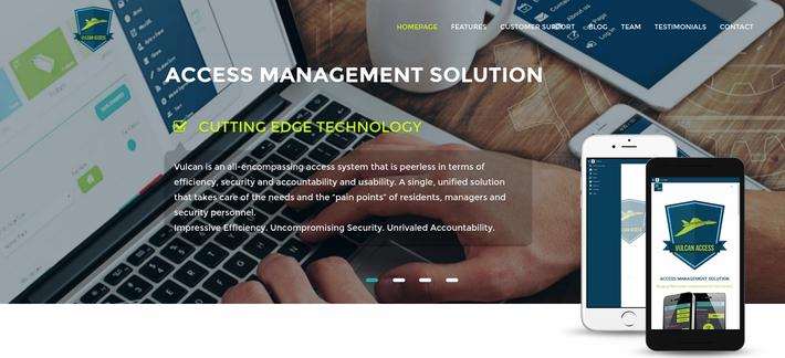 Vulcan website homepage, designed by ke Solutions