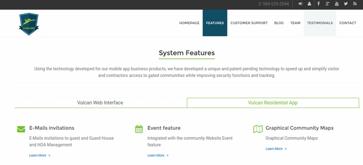 Vulcan System Features page