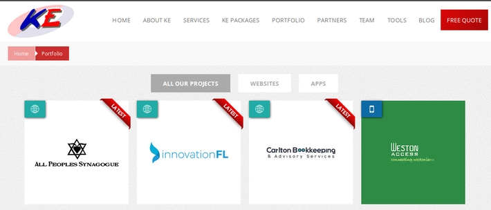 ke Solutions latest additions to the portfolio: Carlton Bookkeeping,     Innovation Florida and All Peoples Synagogue websites