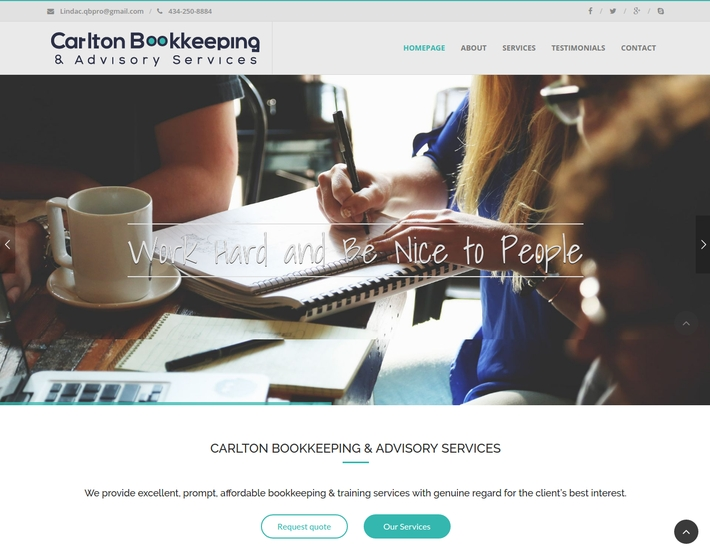 The new website for Carlton Bookkeeping & Advisory Services is a great     online medium for bookkeeping & training services with genuine regard for the client's best interest