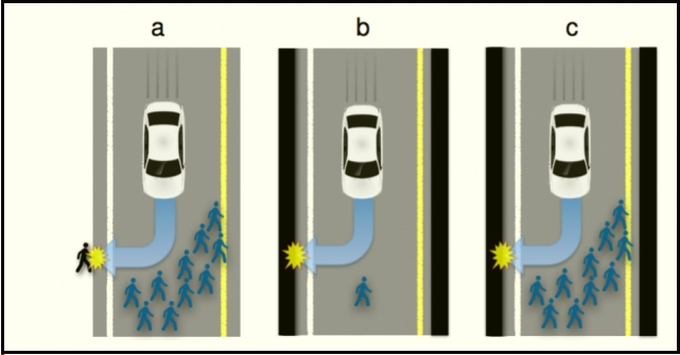 Screenshot of the putative ethical dilemma facing the car's AI