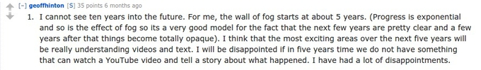 Screen capture from the Redditt Q&A session   with Geoff Hinton about feasible innovations in the machine learning domain